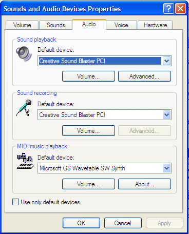 XP Sound Settings